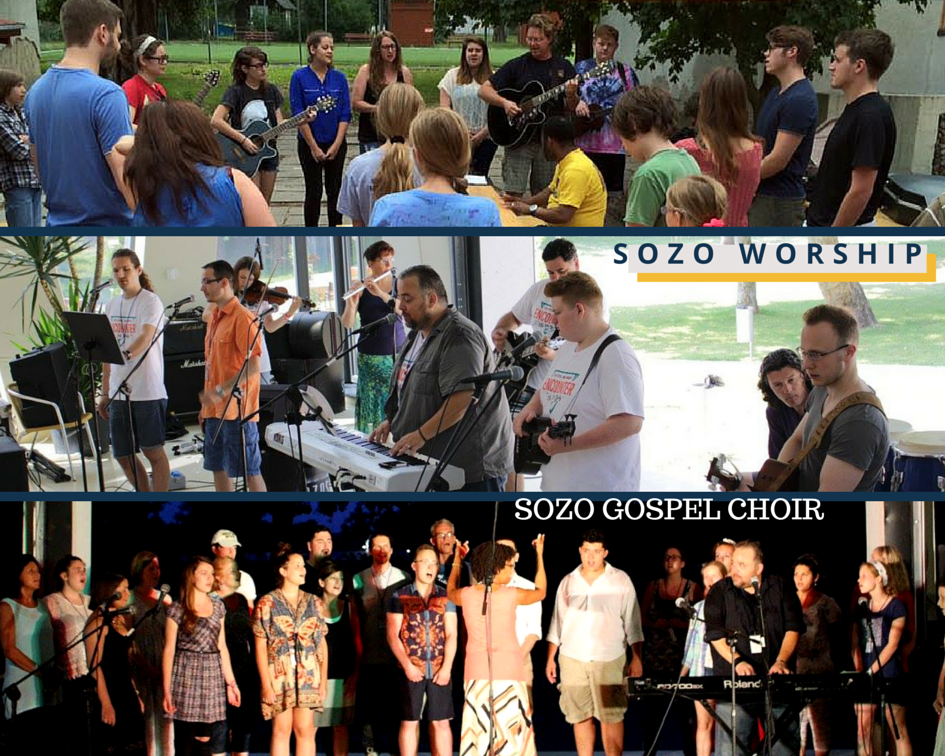 Top: our first morning worship session. MIddle: Tom Long, Matte from Hungary and worship team Day 2, Bottom: SOZO Gospel Choir